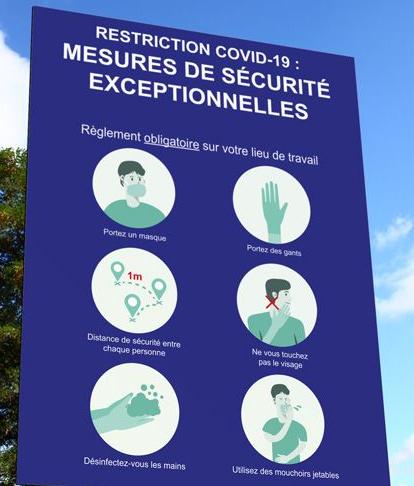 Panneau pré-imprimé consignes de sécurité sanitaire covid 19